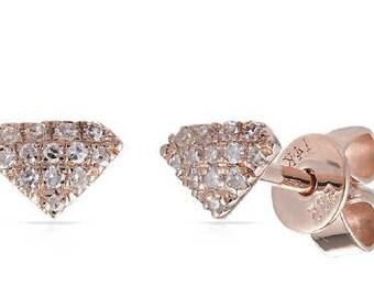 Diamond Shape Small Diamond Stud Earrings 14k Gold - 0.08 Ct.