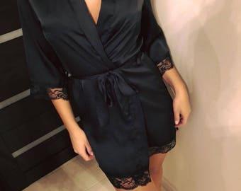Silk womens robe