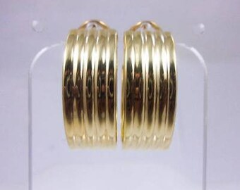 Solid 14K Yellow Gold Large Hoop Earrings 5.9 grams, Omega Backs, 12mm