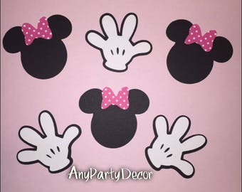 Minnie Mouse Faces and Mickey Mouse Clubhouse Handy Helper Hands For Birthday Party or Baby Shower (25 cutout peices)
