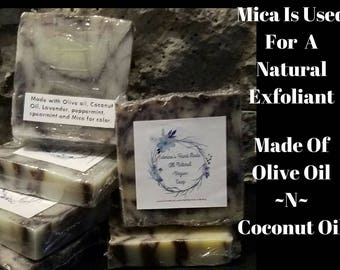 All Natural Handmade Chemical Free Vegan Soap, Made Of Coconut Oil, Olive Oil And Mica For A Natural Exfoliant.