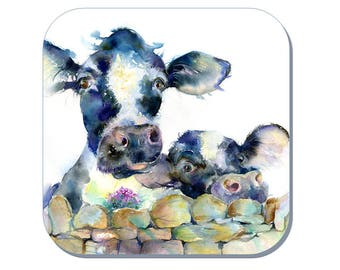 A Moo or Two - Cow Coaster (Corked Back) - from an original Sheila Gill Watercolour Painting