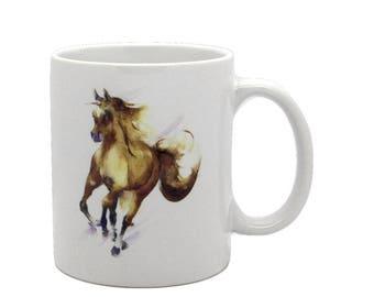 Showing Off - Ceramic Horse Mug. Handmade printed onto Durham style mug from an Original Sheila Gill Watercolour
