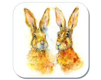 Talking Headz - Hare Coaster, Wildlife Coaster (Corked Back). From an original Sheila Gill Watercolour Painting