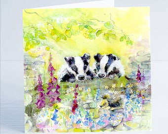 Badgers - Greeting Card - Taken from an original Sheila Gill Watercolour Painting.