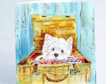 White Highland Terrier - Greeting Card - Taken from an original Sheila Gill Watercolour Painting.