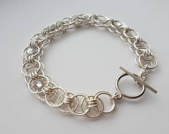 Helm Chain Bracelet with Clear Swarovski Crystals