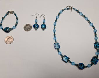 Blue & Black Swirl Glass Bead Necklace + Bracelet + Earring Set