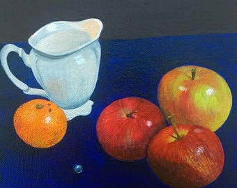 Still Life with apples, acrylic on canvas.
