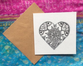 Illustrated happy Mother's Day  heart greeting card celebration henna art gift