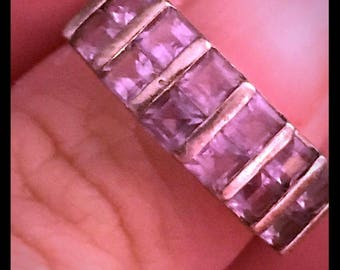 Amethyst and Sterling Silver Ring Bezel Set