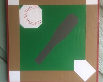 Hand painted barn quilt - 1' x 1' Baseball Field