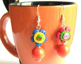 HANDMADE polymer paste and beaded earrings, never used