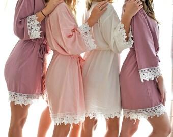 Bridesmaid Robes   Bridesmaid Gifts   Bridal Party gift   Bacholerette Robe   Lace Robes   Wedding Robe   Bridal Party Robe   Bride Robe