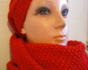 Red wool cap and knitted.