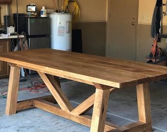 Red Oak Trestle Farm Table
