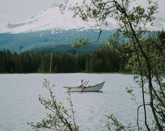 Oregon Mountains II Photographic Print, landscape, nature, boat