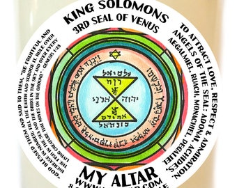 King Solomons Third Seal of Venus Serves to Attract Love, Respect & Admiration Scented Soy 8 oz Glass Candle