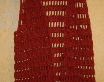 Vintage 1970's Hand Made Crocheted Vest Russet Rust Acrylic yarn