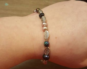 Pearl and Peacock Pyrite stretchy bracelet