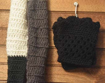 Three-toned Scarf and Boot Cuffs - Adult