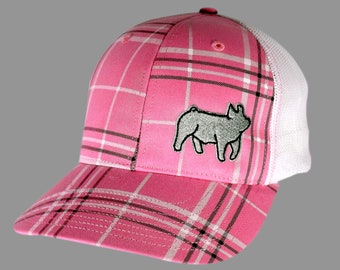 Womens Fit Pink Plaid hat with Showpig