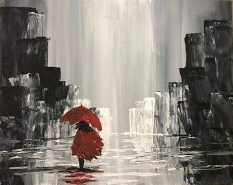 Red Woman in Rain