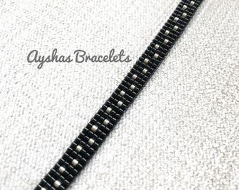 Black and Silver Miyuki Bracelet / Beaded Bracelet / Boho Style / Miyuki Bead Bracelet / Miyuki Delica