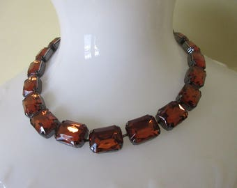"""Joan Rivers Amber Acrylic """"Stone"""" Link Collar Necklace"""