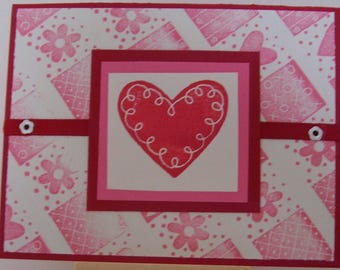 """Valentine """"Heart and Flower"""" Greeting Card Handcrafted with Stampin' Up stamps"""