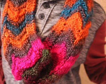 Colorful Thick Hand-Knit Cowl