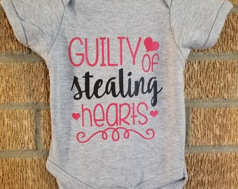 Baby Boy's Valentine's Day Guilty Of Stealing Hearts Onesie Gray