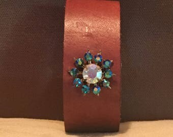 Leather Cuff with Vintage Earring