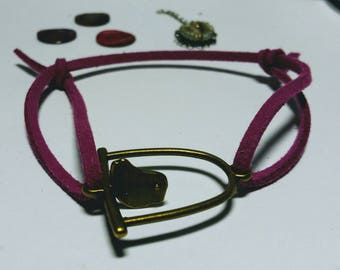 THE perfect NOTE: Adjustable Bracelet, purple suede, bird and perch connector