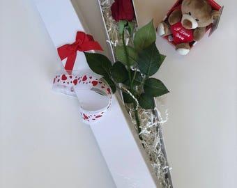 Silk Boxed Rose + Teddy Bear