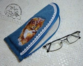 Bag for glasses with embroidery cat Sunglasses Holders for sunglasses Gift for her Pouch for glasses Soft pouch for glasses