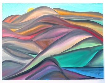"Oil ""sun behind Landscape"""
