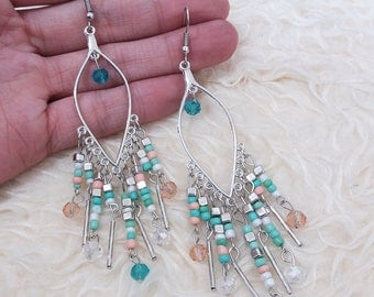 Multi Beads Dangle Earrings