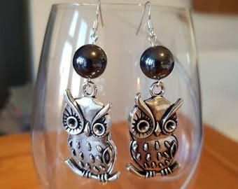 Large Owl Dangle Earrings