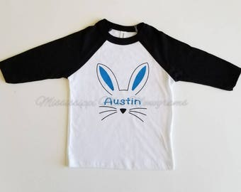 Easter shirt, Toddler Easter shirt, Toddler Raglan, Bunny Shirt, Free Shipping