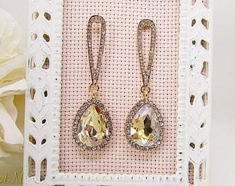 Champagne Earrings, Teardrop Earrings, Champagne Crystal Earrings, Wedding Earrings, Rhinestone Earrings, Bridesmaid Gift