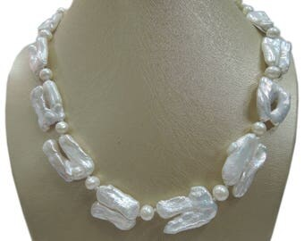 LGSY, 100% Nature Freshwater Pearl Necklace, Baroque Pearl Necklace