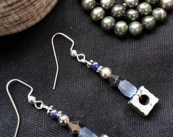 Crystal and glass earrings