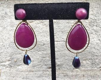 Purple jade earring jackets
