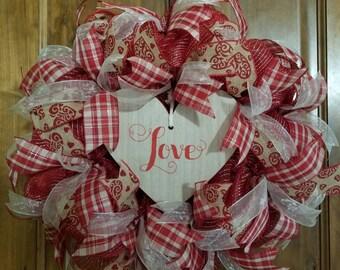 Valentine Love Deco Mesh Ribbon Wreath