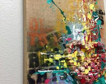 """Original Painting Mix, Textured, Graffiti, Acrylic Burlan/Canvas Art 16"""" X 20"""""""