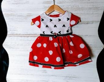"Adorable 18"" doll dress in Minnie print & dots"