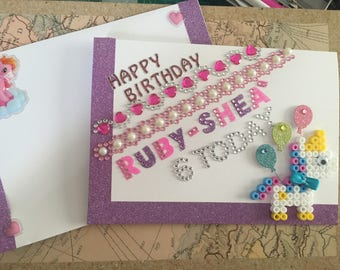 Happy Birthday Card - Unicorn and balloons - Customise to feature name age and even relation - Unicorns, balloons, sparkles and glitter