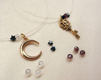 Moon & key invisible necklaces