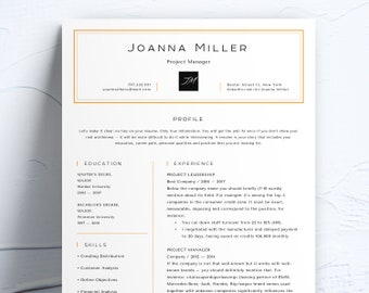 Resume Template Creative, 2 page, Customizable Resume With Initials + Cover Letter for MS Word, Instant Digital Download, Сalligraphic CV